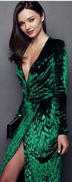 Who made Miranda Kerr's green velvet long sleeve dress? Dress – Gucci