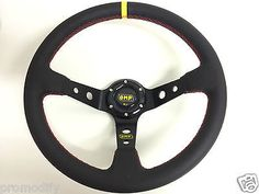 350 mm genuine #leather deep dish steering #wheel fit omp momo #sparco boss kit,  View more on the LINK: 	http://www.zeppy.io/product/gb/2/221865699542/