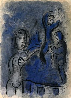 Marc Chagall - 'Rahab and the Spies of Jericho'  color lithograph