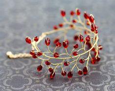 Gold bracelet Red wedding bracelet Ruby bracelet by ArsiArt