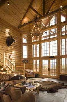 I'm not usually one for log homes, but holy crap! Gorgeous log home interior Home Design, Design Ideas, Design Room, Casa Loft, Style Rustique, Log Cabin Homes, Log Cabins, Deco Design, Home Photo