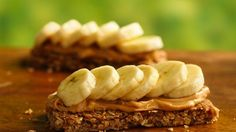 This smart snack couldn't be any easier.  Spread a granola bar with peanut butter and add banana slices