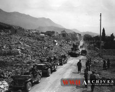 World War II Photograph: Appian way passing Formia.  Fifth Army, Itri area, Italy.  19 May 1944.
