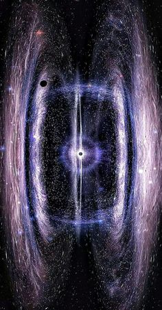 Double galaxy with a black hole in the center