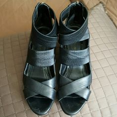 Shoes Beautiful black strapped wedges on good condition used once. BCBG BCBGeneration Shoes Wedges