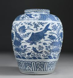 A MASSIVE BLUE AND WHITE 'FISH' JAR  WANLI MARK AND PERIOD