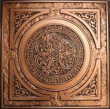 """Steampunk - Faux Tin Ceiling Tile - 24""""x24"""" - #225 antique copper"""