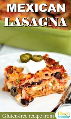This easy Mexican Lasagna recipe is gluten free and perfect for any gathering. especially game night! This Tex Mex casserole reheats well, so is great for family dinners with leftovers for lunches. Gluten Free Casserole, Gluten Free Lasagna, Easy Casserole Recipes, Easy Pasta Recipes, Easy Dinner Recipes, Healthy Recipes, Carnitas, Barbacoa, Tex Mex Lasagna Recipe