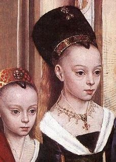 """Hans Memling: detail of """"The presentation in the temple"""" 1463 - I am thinking I should do more partlets with my century. Renaissance Kunst, Renaissance Portraits, Renaissance Jewelry, Medieval Jewelry, Medieval Clothing, Italian Renaissance, Medieval Art, Wiccan Jewelry, Historical Costume"""