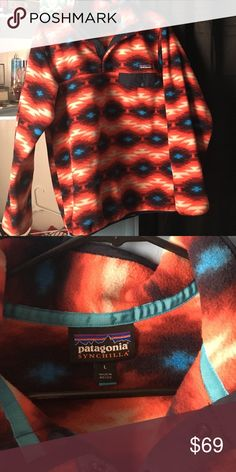 Size L Patagonia lightly worn patterned patagonia!! Patagonia Jackets & Coats