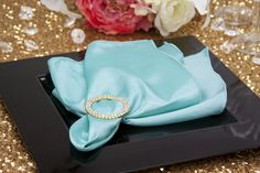 "Taffeta Napkin 20""x20"" - Turquoise"