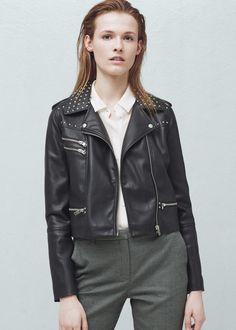 Studded biker jacket - Jackets for Women | MANGO USA