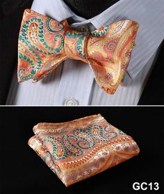 GC13 ORANGE, GREEN,Floral 100% Silk Butterfly Tie Self Tie Bow Tie Pocket Square Bow tie Set