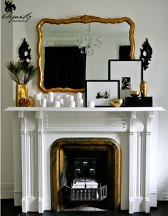 beautiful mantel decoration -- have to figure out how to make ours as pretty even though it's 3 times longer