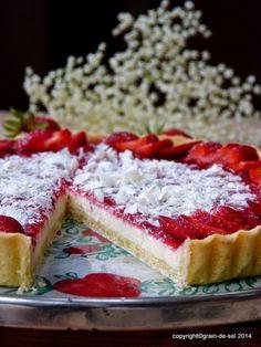 grain de sel - salzkorn: Strawberryfields forever - Tarte mit weißer Schokolade und Erdbeer-Verveine-Spiegel - Fraisimania