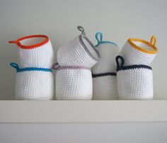 Crochet basket. Round basket. Spring basket. Storage basket. Organizer. Cestino uncinetto. Häkeln Korb. Set of 2.