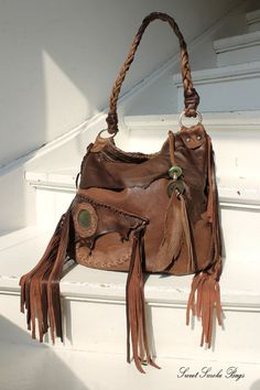 Tribal brown chocolate leather fringe bag hobo  fringed asymmetrical pocket medium purse southwestern artistan western african jungle