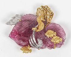 Spectacular Pink Tourmaline Diamond Gold Fish Pin