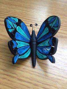 Quipped Blue Paper Butterfly - Ginger Evenson Arts
