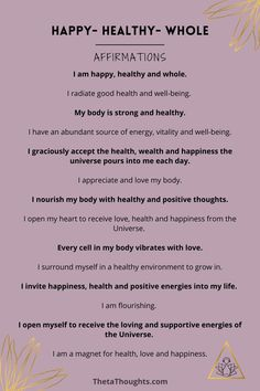 Positive affirmations that allow you to take control of your thoughts and harness their power to create massive positive momentum in your life. When you consciously choose your thoughts you shift your mindset to align with the life you desire. Healing Affirmations, Positive Affirmations Quotes, Affirmation Quotes, Positive Quotes, Morning Affirmations, My Happiness Quotes, I Am Happy Quotes, Morning Mantra, Get My Life Together