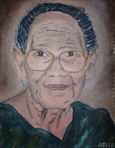 """Seipua is an 11""""x17"""" original oil painting on Canvas. She was a taulasea,a Samoan medicine woman who was well known for her knowledge of Samoan herbal medicine as well as Samoan fofo."""