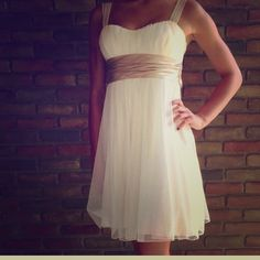 REDUCED Cream n Gold dress! Cute 4 any occasion Perfect party dress for New Years Eve. Light Champagne color/Off white tule and gold glitter and sash! Size 3, only worn 1 time for just a few hours! Look more off white in person, the camera it appears bright white but it's not.  Speechless Dresses