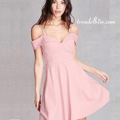 Trendelbise.com sayesinde Çift Askılı Elbise - Pudra elbiseyi hemen alın.