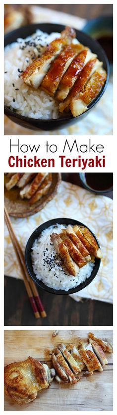 The secret to sinfully delicious chicken teriyaki is the shattering crispy chicken skin...To make teriyaki sauce, you only need three (3) ingredients: soy sauce, sugar, and mirin ====