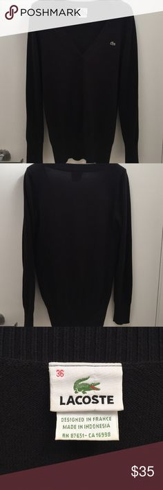 Lacoste black v-neck sweater sz 36 Lacoste black v-neck sweater sz 36. Lacoste Sweaters V-Necks