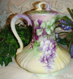 Limoges, France, chocolate pot, hand-painted, circa 1900-1941