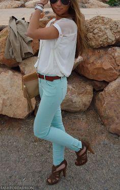 Tiffany blue skinny jeans