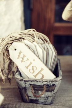 wish tags for guests to write for the bride and groom