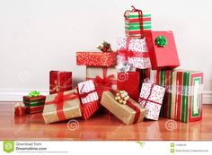 Christmas Gift Wrapping Ideas A Pile Of Gifts In Colorful With Ribbons
