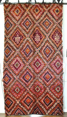 Absolutely amazing and gorgeous vintage Moroccan carpet.  All wool.  Stunning nested diamonds and beautiful colorations  violet, magenta, indigo, olive.  Stunning!  68 inches wide, 126 inches long. #design