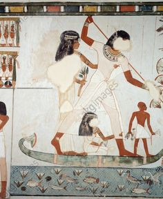 Menna and his family fishing and fowling in the marshes of the Nile, detail from frescoes in the chapel of the Tomb of Menna, Sheikh Abd el Qurnah Necropolis, Luxor, Thebes (Unesco World Heritage List, 1979), Egypt. Egyptian civilisation, New Kingdom, Dynasty XVIII.