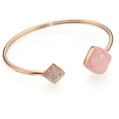 Michael Kors Rose Quartz Pave Pyramid Cuff Bracelet ($120) ❤ liked on Polyvore featuring jewelry, bracelets, apparel & accessories, rose gold, cuff jewelry, cuff bracelet, michael kors, michael kors bangle and pyramid jewelry