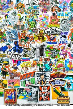 """We have 100 pieces ALL different """"Skateboard"""" related stickers in a single pack, decorate on your skateboard, longboard, laptop, scrapbook, photo album, water bottle, fridge, luggage, toolbox, pretty much anything you want! OFF THE WALL sticker pack   Skateboard brand   Skateboard Art   Skateboard Girl   VANS shoes Sticker Bomb, Logo Sticker, Wall Sticker, Duck Wallpaper, Nike Wallpaper, Girl Vans, Disney Pop Art, Vans Skateboard"""