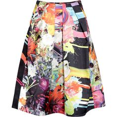 Preen Hunter Floral Paintdrip Printed T-shirt ($158) ❤ liked on Polyvore featuring skirts and bottoms