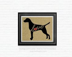 Vizsla Love  Burlap Printed Wall Art: Dog by TraciWithaniDesigns