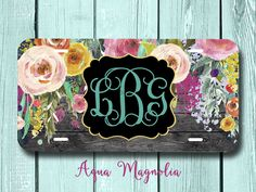 Watercolor Flowers - Weathered Wood - Personalized - License Plate - Weathered Wood Monogram - Water Color Roses by AquaMagnolia on Etsy
