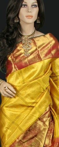 Mustard and Red Kanjeevaram Saree