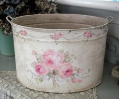 Rose Bouquet Hand Painted Oval Bucket