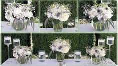 The couple has installed this beautiful green backdrop for their sweet heart table. It matched perfectly with their organic looking white and green centerpieces, composed of white hydrangeas, baby's breath, blue thistles, Queen Anne's lace, limonium and eucalyptus. Wedding Flower Arrangements, Floral Arrangements, Wedding Flowers, Green Centerpieces, White Hydrangeas, Thistles, Queen Anne, Artificial Flowers, Backdrops