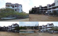 Leegstaand hotel op Bonaire (zonder vergunning gebouwd), nooit afgemaakt.