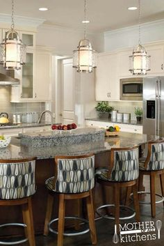 """When hanging #pendants over a kitchen island, like these #ProgressLighting """"Bay Court"""" lanterns, they should be hung 30-40"""" above the surface. Because islands are where families gather, consider their interactions at the island when deciding how low to hang the pendant. What lighting would you use? Show us by submitting your ideal kitchen for a chance to win with Ferguson Bath, Kitchen & Lighting Gallery. http://www.ferguson.com/showrooms/mother-of-all-kitchens?crlt.pid=camp.TfPVSOIZ3ioF"""