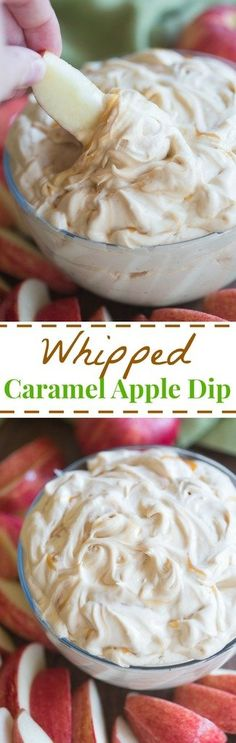 This light and fluffy whipped caramel apple dip couldn't be easier. It uses simple ingredients, is made in five minutes, and tastes AMAZING!  | tastesbetterfromscratch.com