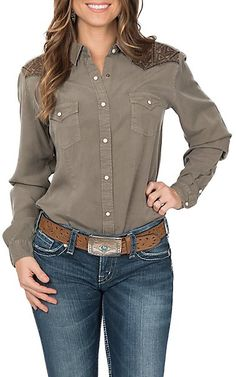 5fa6d591 Panhandle Women's Rough Stock Embroidered Yoke Western Shirt | Cavender's