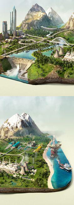 Islands by Pavel Birt, via Behance