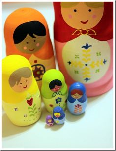 Make these Hand painted Rainbow Matryoshka Nesting Dolls and give them to my girls as gifts.