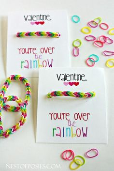 As much fun to make as they are to give! Over the Rainbow Loom Bracelet Valentine